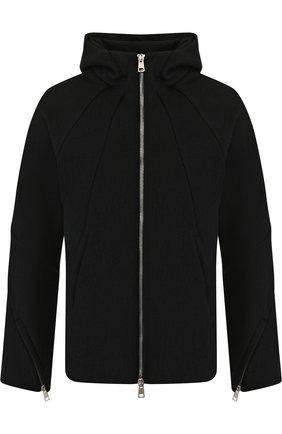 Куртка из смеси шерсти и хлопка на молнии с капюшоном    Фото №1