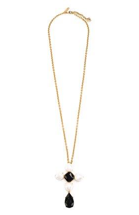 Цепочка с подвеской-брошью Oscar de la Renta черная | Фото №1