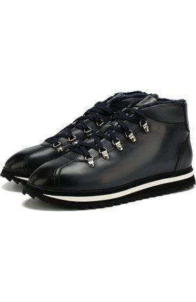 Мужские кожаные ботинки на шнуровке с внутренней меховой отделкой DOUCAL'S темно-синего цвета, арт. DU1793WINNUM005NB00 | Фото 1