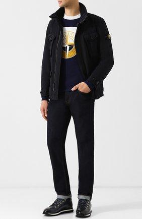 Мужские кожаные ботинки на шнуровке с внутренней меховой отделкой DOUCAL'S темно-синего цвета, арт. DU1793WINNUM005NB00 | Фото 2