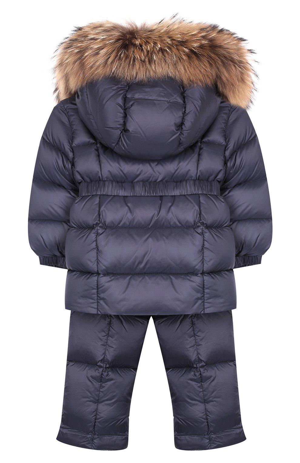 Детский комплект из пуховой куртки и комбинезона на подтяжках MONCLER ENFANT темно-синего цвета, арт. D2-951-70336-25-53048 | Фото 2