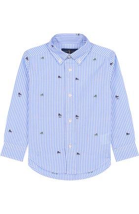 Детская хлопковая рубашка с воротником button down POLO RALPH LAUREN голубого цвета, арт. 321702907 | Фото 1 (Материал внешний: Хлопок; Статус проверки: Проверена категория; Рукава: Длинные; Принт: С принтом; Случай: Повседневный)