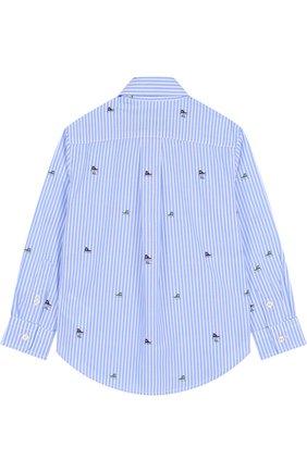 Детская хлопковая рубашка с воротником button down POLO RALPH LAUREN голубого цвета, арт. 321702907 | Фото 2 (Материал внешний: Хлопок; Статус проверки: Проверена категория; Рукава: Длинные; Принт: С принтом; Случай: Повседневный)