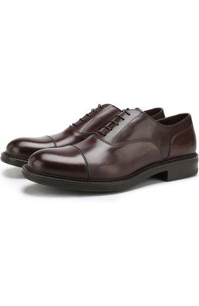 Кожаные оксфорды на шнуровке W.Gibbs коричневые   Фото №1