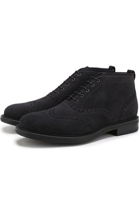 Замшевые ботинки на шнуровке W.Gibbs темно-синие   Фото №1