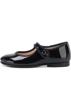 Детские лаковые туфли с перемычкой Beberlis темно-синего цвета | Фото №1