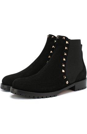 Женские замшевые ботинки valentino garavani rockstud с внутренней отделкой из овчины VALENTINO черного цвета, арт. QW2S0D47/ENQ | Фото 1