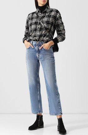 Женские замшевые ботинки valentino garavani rockstud с внутренней отделкой из овчины VALENTINO черного цвета, арт. QW2S0D47/ENQ | Фото 2