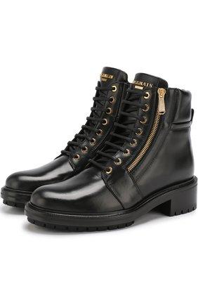 Кожаные ботинки Army на шнуровке | Фото №1