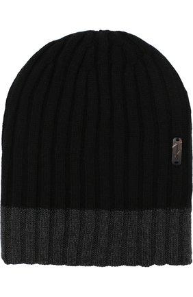 Кашемировая шапка фактурной вязки Cortigiani черного цвета | Фото №1