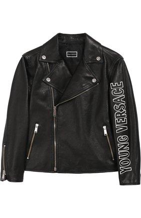 Кожаная куртка с аппликацией Young Versace черного цвета | Фото №1