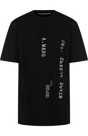 Хлопковая футболка с круглым вырезом и декоративной отделкой Alexander Wang черная | Фото №1
