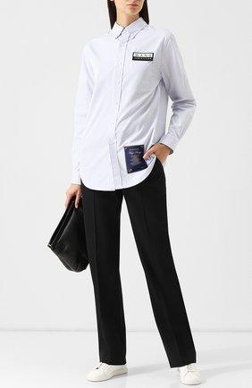 Женская хлопковая блуза с декоративными нашивками Alexander Wang, цвет голубой, арт. 6W381021W2 в ЦУМ | Фото №1