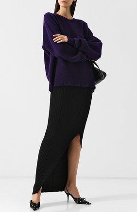 Вязаная юбка-макси из смеси шерсти и кашемира Ben Taverniti Unravel Project черная | Фото №1