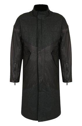 Плащ прямого кроя с меховой подкладкой Giorgio Brato черного цвета | Фото №1