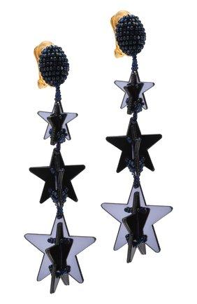 Серьги-клипсы с подвесками и отделкой из бисера Oscar de la Renta темно-синие | Фото №1