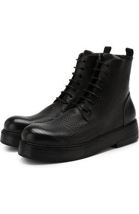 Высокие кожаные ботинки на шнуровке Marsell черные | Фото №1