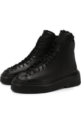 Кожаные ботинки с внутренней отделкой из овчины Marsell черные | Фото №1
