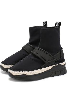 Высокие текстильные кроссовки K-Lastic с джутовой отделкой Kenzo черные | Фото №1