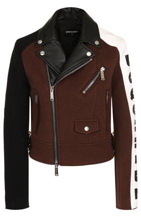 Шерстяная куртка на молнии с кожаной отделкой Dsquared2 коричневая | Фото №1