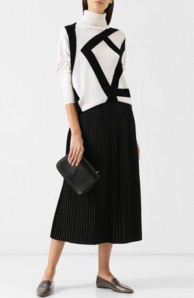 Кашемировый пуловер с высоким воротником Tse черно-белый | Фото №1