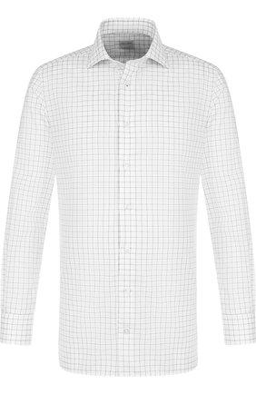 Хлопковая рубашка с воротником кент Luciano Barbera белая | Фото №1