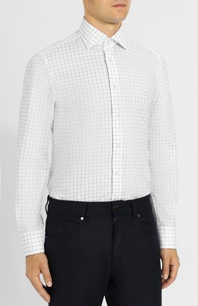 Хлопковая рубашка с воротником кент Luciano Barbera белая | Фото №3