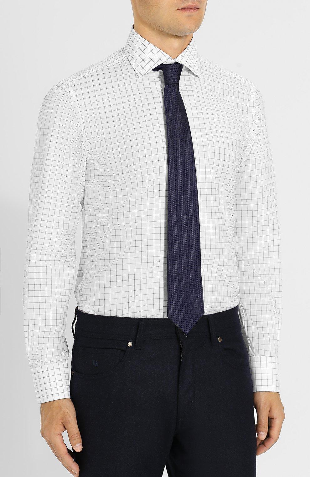 Хлопковая рубашка с воротником кент Luciano Barbera белая | Фото №4