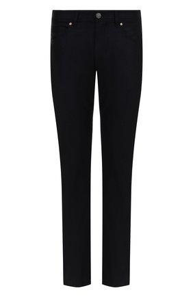 Шерстяные брюки прямого кроя Luciano Barbera темно-синие | Фото №1