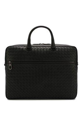Мужской кожаный портфель  BOTTEGA VENETA черного цвета, арт. 516110/V4651   Фото 1