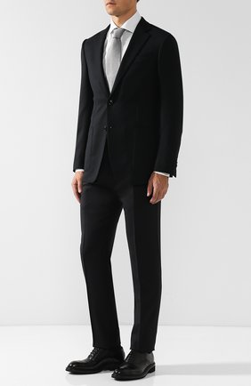 Кожаные оксфорды с брогированием Zegna Couture черные | Фото №1