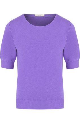 Вязаный топ из смеси шерсти и кашемира The Row фиолетовый | Фото №1