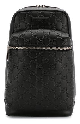 Мужской кожаный рюкзак gucci signature GUCCI черного цвета, арт. 523234/DMTDN   Фото 1