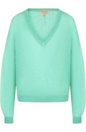 Вязаный пуловер с V-образным вырезом Burberry бирюзовый   Фото №1