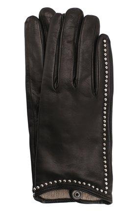 Кожаные перчатки с металлической отделкой Sermoneta Gloves черные   Фото №1