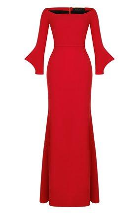 Однотонное платье-макси с вырезом-лодочка Roland Mouret красное   Фото №1