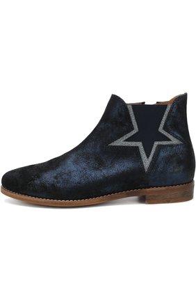 Детские кожаные ботинки с металлизированной отделкой Beberlis темно-синего цвета | Фото №1