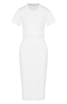 Хлопковое платье-миди с круглым вырезом | Фото №1