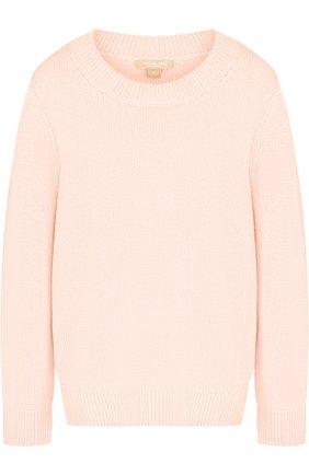 Вязаный пуловер из смеси хлопка и кашемира Michael Kors Collection розовый | Фото №1
