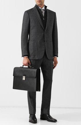 Кожаный портфель с плечевым ремнем Serapian черный | Фото №1