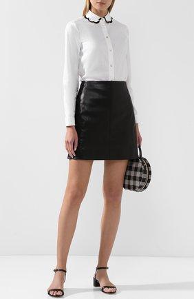 Женская хлопковая блуза с контрастной отделкой REDVALENTINO, цвет белый, арт. QR0AB245/0ES в ЦУМ | Фото №1