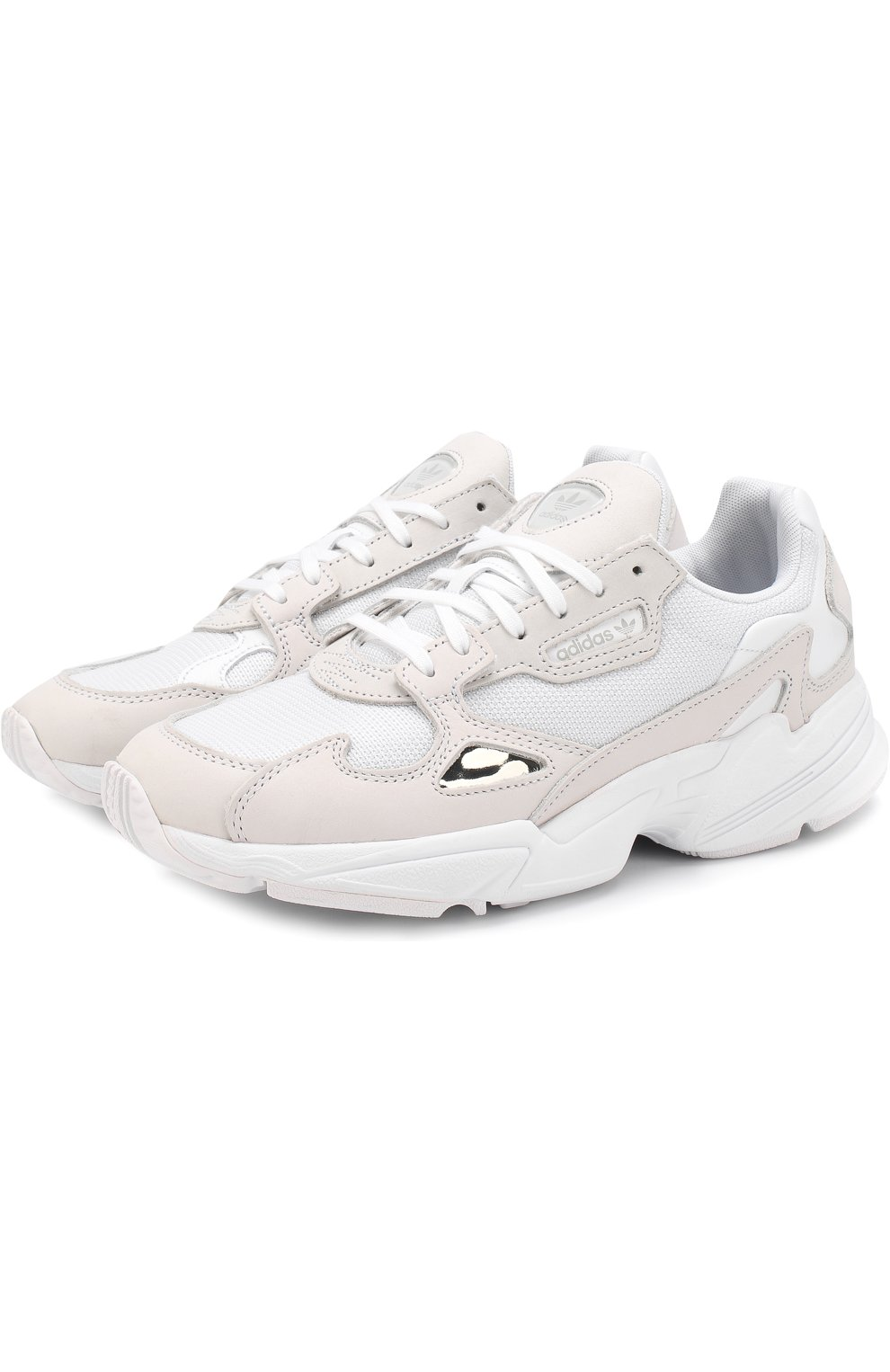 00063703 Комбинированные кроссовки Falcon Triple на шнуровке adidas Originals белые  | Фото №1