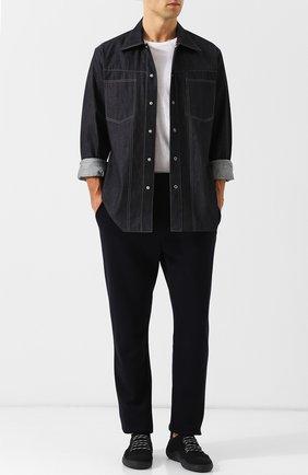 Мужские брюки из смеси хлопка и шерсти BOTTEGA VENETA темно-синего цвета, арт. 470798/VZZY5   Фото 2