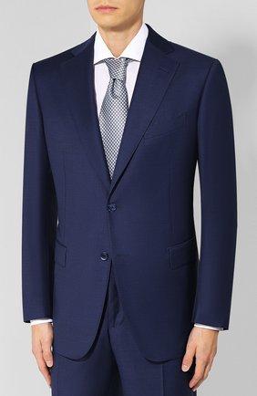 Шерстяной костюм с пиджаком на двух пуговицах Zilli синий | Фото №1