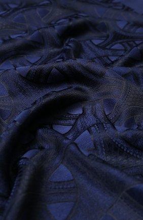 Шарф из смеси кашемира и шелка с принтом Zilli темно-синий | Фото №1
