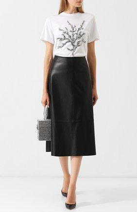 Кожаная юбка-миди на молнии Yves Salomon черная | Фото №1