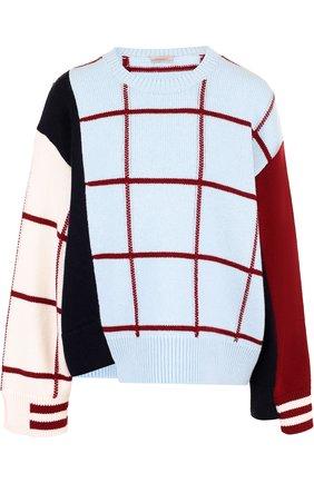 Вязаный пуловер из смеси шерсти и кашемира с круглым вырезом MRZ разноцветный | Фото №1