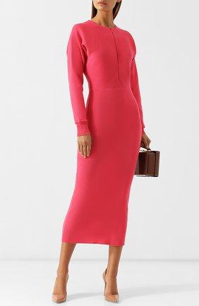 Приталенное шерстяное платье-миди с круглым вырезом Emilio Pucci фуксия | Фото №1