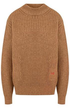 Шерстяной пуловер с воротником-стойкой