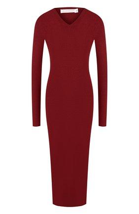 Однотонное платье-миди с V-образным вырезом Victoria Beckham бордовое | Фото №1